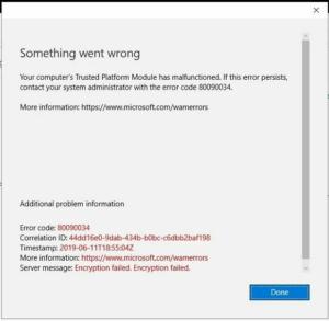 Ошибка шифрования 80090034